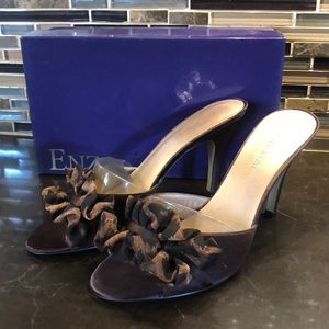Enzo angiolini Aedeka brown satin animal print